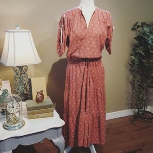 Vintage - PBJ Brick Red Floral Maxi Dress